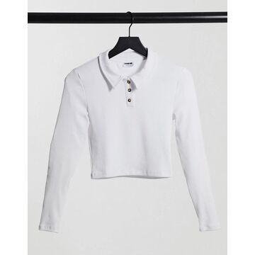 Noisy May cropped polo shirt in white