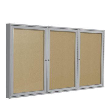 Ghent 3 Door Enclosed Vinyl Bulletin Board Satin Frame 3H x 6W Caramel