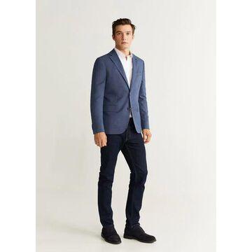 MANGO MAN - Slim fit microstructured blazer blue - 40 - Men