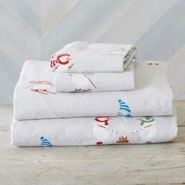 Home Fashion Designs Super Soft Printed Turkish Cotton Flannel Bed Sheet Set (Snowman - King)