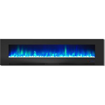 Cambridge 78 In. Wall-Mount Electric Fireplace in Black with Multi-Color Flames and Crystal Rock Display