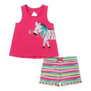 Little Girls 2-Pc. Zebra Tank Top & Striped Shorts Set