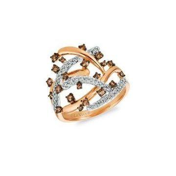 Chocolatier Vanilla Diamonds, Chocolate Diamonds & 14K Strawberry Gold Statement Ring