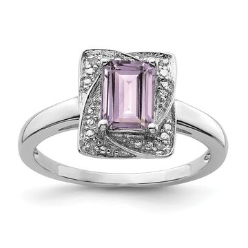 Sterling Silver Rhodium-plated Diamond and Pink Quartz Ring by Versil (9)