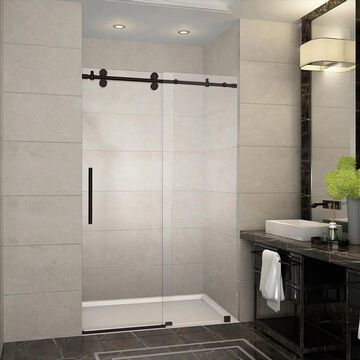 Aston Langham 75-in H x 44-in to 48-in W Frameless Sliding Bronze Shower Door (Clear Glass) Stainless Steel | SDR978NBR4810