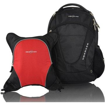Obersee Oslo Diaper Bag Backpack and Cooler, Black/Red