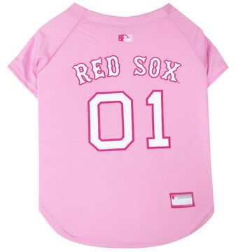 Pets First Pink Boston Red Sox Jersey, Small