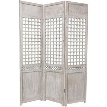 Oriental Furniture 6 Ft Tall Open Lattice Room Divider, Solid wood, European or American Style, 3 panel, accent item