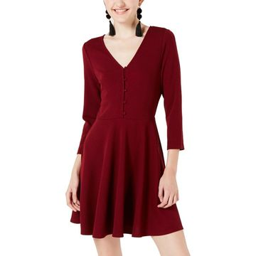 Planet Gold Womens Juniors Textured 3/4 Sleeves Casual Dress