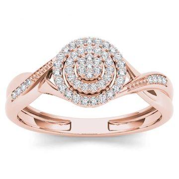 De Couer IGI Certified 10k Rose Gold 1/6ct TDW Diamond Halo Engagement Ring