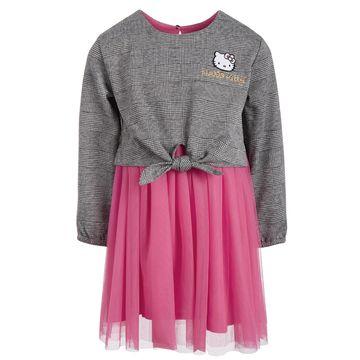 Little Girls Tie-Waist Mesh Dress