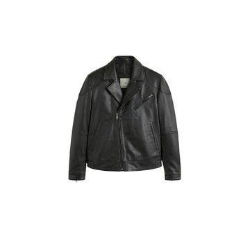 MANGO MAN - Lapels nappa biker jacket black - XL - Men