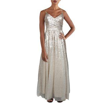 Eliza J Womens Evening Dress Sequined V-Neck - Champagne
