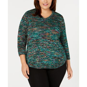 Plus Size Marled V-Neck Sweater
