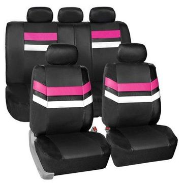 FH Group Varsity Spirit PU Leather Full Set Seat Covers with bonus Air Freshener