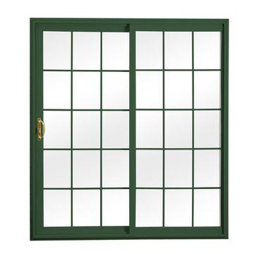 ReliaBilt Grilles Between The Glass Green Vinyl Universal Reversible Double Door Sliding Patio Door (Common: 72-in x 80-in; Actual: 70.75-in x 79.5-in)