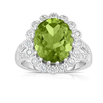 Noray Designs 14k White Gold Peridot and 1/2ct TDW Diamond Anniversary Ring