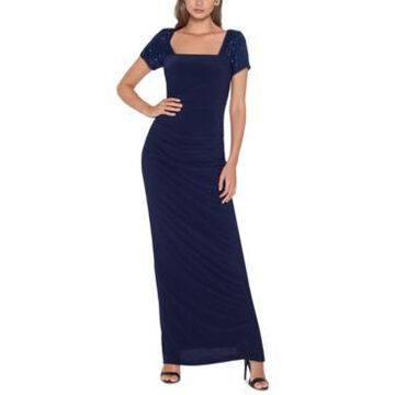 Betsy & Adam Sequin-Sleeve Cutout-Back Gown
