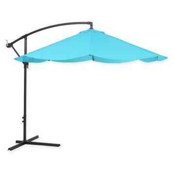Pure Garden Cantilever Offset 10-Foot Hanging Patio Umbrella in Blue