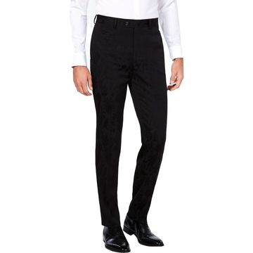 Tallia Mens Black Bird Print Pleated Dress Pants