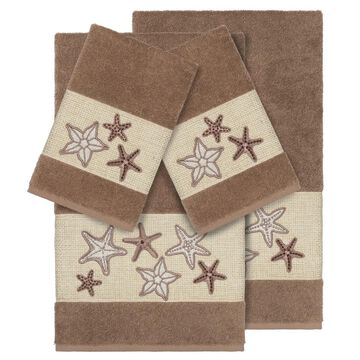 Authentic Hotel and Spa Latte Brown Turkish Cotton Starfish Embroidered 4 piece Towel Set