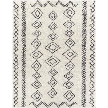 Surya Taza shag 6 ft. 7 in. x 9 ft. Global Area Rug in Cream/Charcoal in Off-White