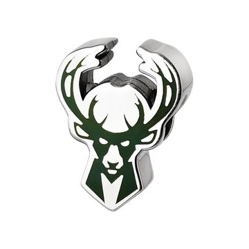 LogoArt Milwaukee Bucks Sterling Silver Enameled Bead