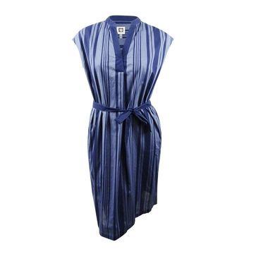 Anne Klein Women's Pinstripe Sheath Dress - Eton Blue/Eclipse
