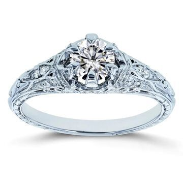 Annello by Kobelli 14k White Gold 5/8ct TGW Moissanite (FG) and Diamond 6-Prong Antique Engagement Ring