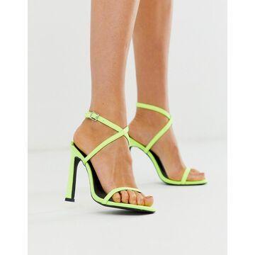 London Rebel strappy heeled sandals in neon-Orange