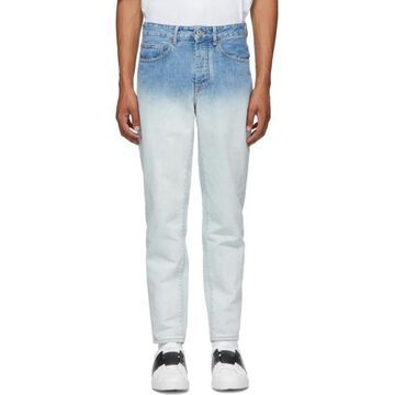 Marcelo Burlon County of Milan White and Blue Denim Gradient Jeans