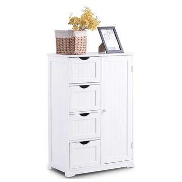 Costway Wooden 4 Drawer Bathroom Cabinet Storage 2 Shelves Free Standi