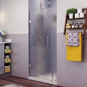 Aston Belmore 72-in H x 37.25-in to 38.25-in W Frameless Hinged Shower Door (Frosted Glass) | SDR965FCH382410