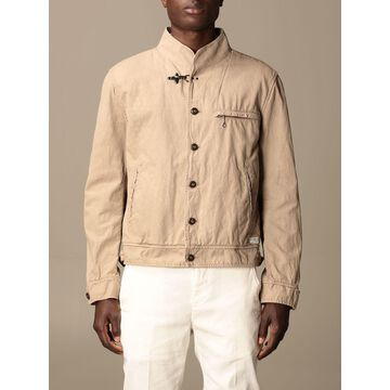 Fay jacket in cotton and linen blend
