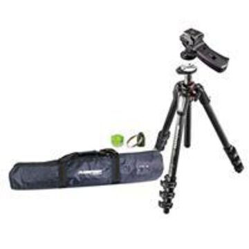 Manfrotto MT055CXPRO4 Carbon Fiber 4 Sections Tripod with Horizontal Column, - Bundle With Manfrotto 322RC2 Grip Action Ball Head, Tripod Case, Bubble Level, Tripod Hangar