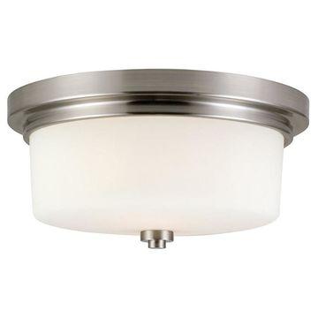 Design House Aubrey 13-in Satin Nickel Flush Mount Light