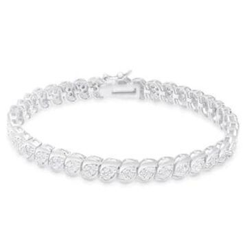 Finesque Gold Over Silver or Sterling Silver 2 ct TDW Diamond Bracelet (White - Sterling Silver)
