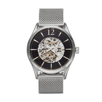 Armitron Mens Stainless Steel Mesh Automatic Skeleton Watch - 20/5237BKSV