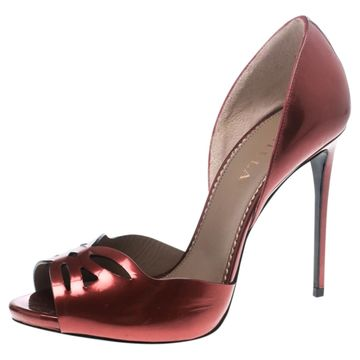 Le Silla Red Leather Sandals