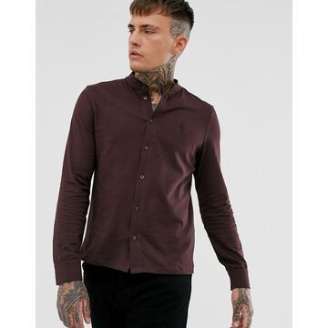Religion slim fit jersey shirt with grandad collar in burgundy
