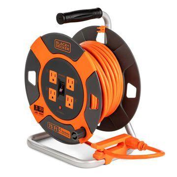 BLACK+DECKER Black + Decker Cord Reel 75-ft 14/3 3-Prong Indoor/Outdoor SJTW Medium Duty General Extension Cord in Orange | BDXPA0063
