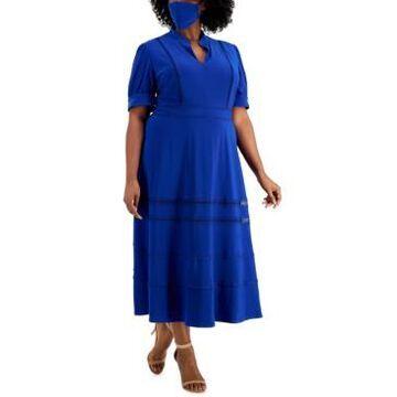 Taylor Plus Size A-line Lace Trim Midi Dress & Face Mask