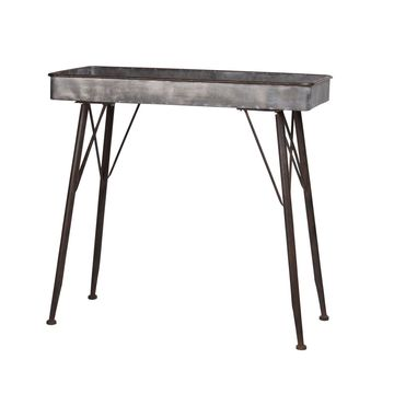 Urban Trends Collection Metal Rectangle Table with Wood Surface and Brown Espresso Rim Edges and Legs Galvanized Finish Dark Gray