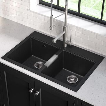 Kraus KGD-433B Undermount Drop-in 33 inch 2-Bowl Granite Kitchen Sink