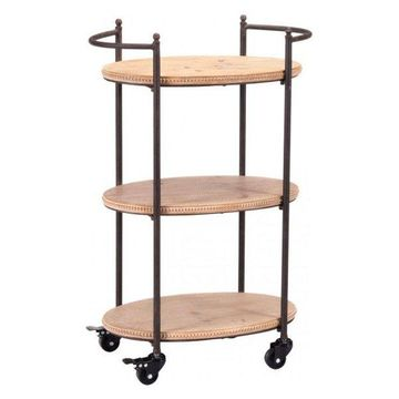 Zuo Modern Tri Level Bar Cart, Brown