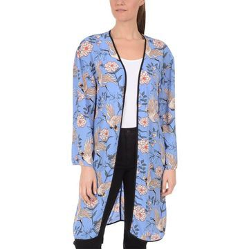 NY Collection Womens Floral Long Sleeves Kimono