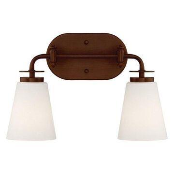 Millennium Lighting 2-Light Vanity Light, Rubbed Bronze, Etched White,