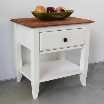 International Caravan Saint Gallen One-drawer Solid Acacia Hardwood End Table (Ivory - Acacia)