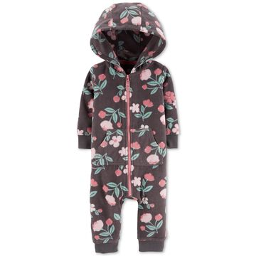 Baby Girls Floral-Print Fleece Hooded Coverall