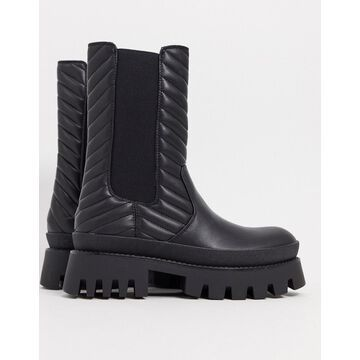 Bershka pull on ankle boot in black